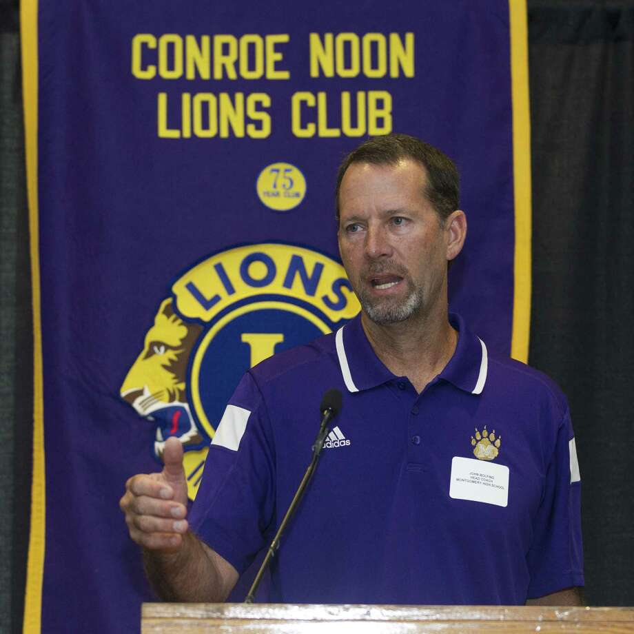 Montgomery head coach John Bolfing talks about the upcoming football season during the Conroe Noon Lions Club's annual Pigskin Preview at the Lone Star Convention & Expo Center on Wednesday, Aug. 8, 2018, in Conroe. Photo: Jason Fochtman, Staff Photographer / Houston Chronicle / © 2018 Houston Chronicle