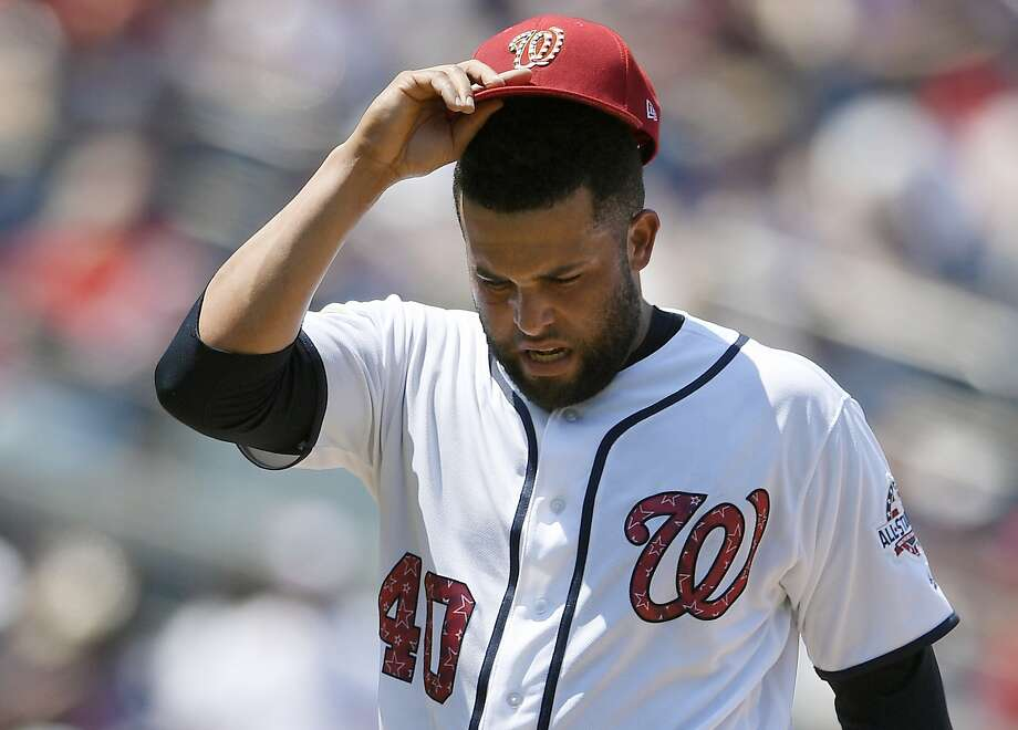 Kelvin Herrera, who was traded to the contending Nationals from the Kansas City Royals in June, was closing in place of the injured Sean Doolittle before he got hurt. Photo: Nick Wass / Associated Press