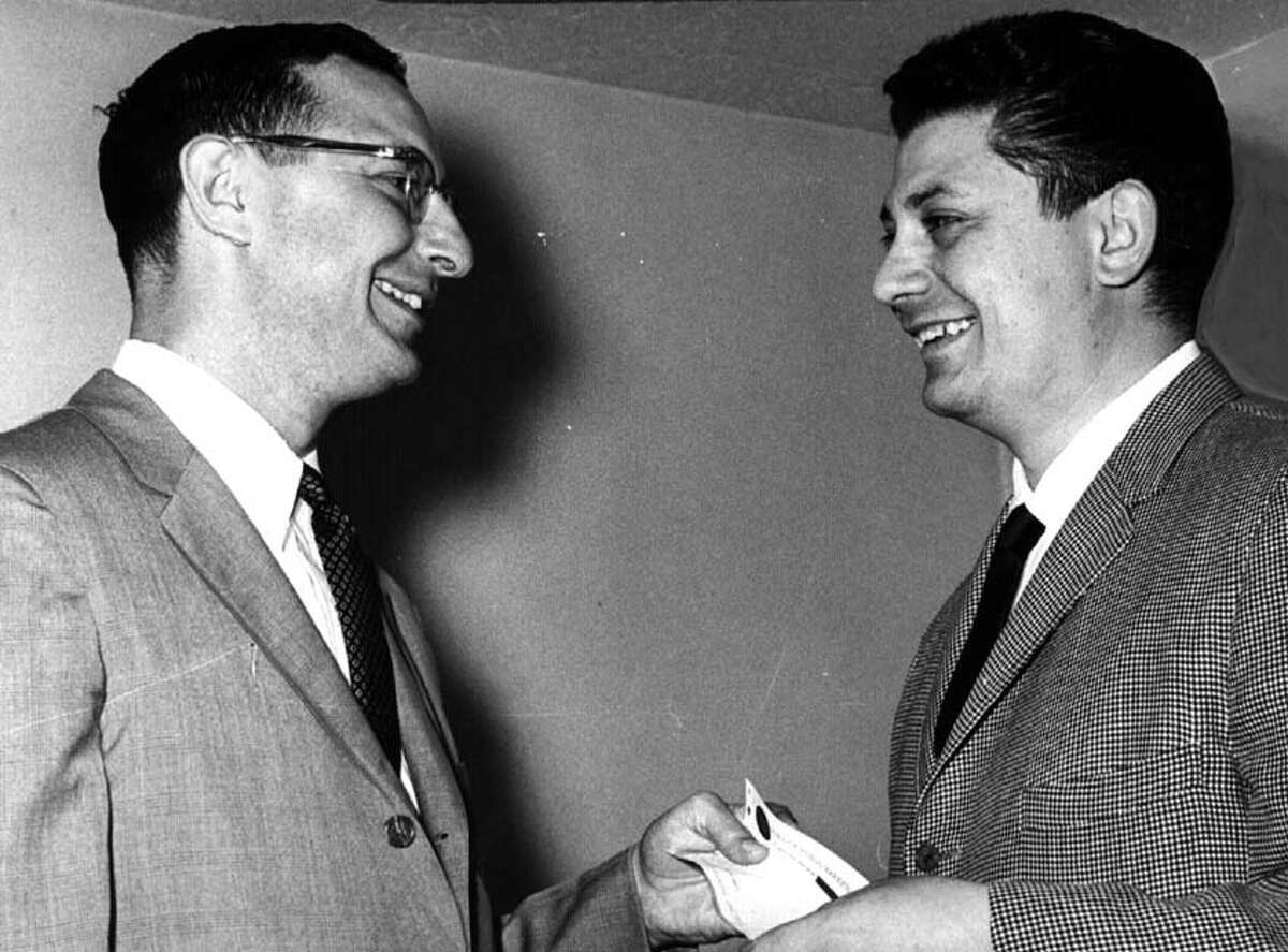 Robert Danzig, former Times Union publisher, with Joseph F. Nigro on May 21, 1965. (Times Union archive)