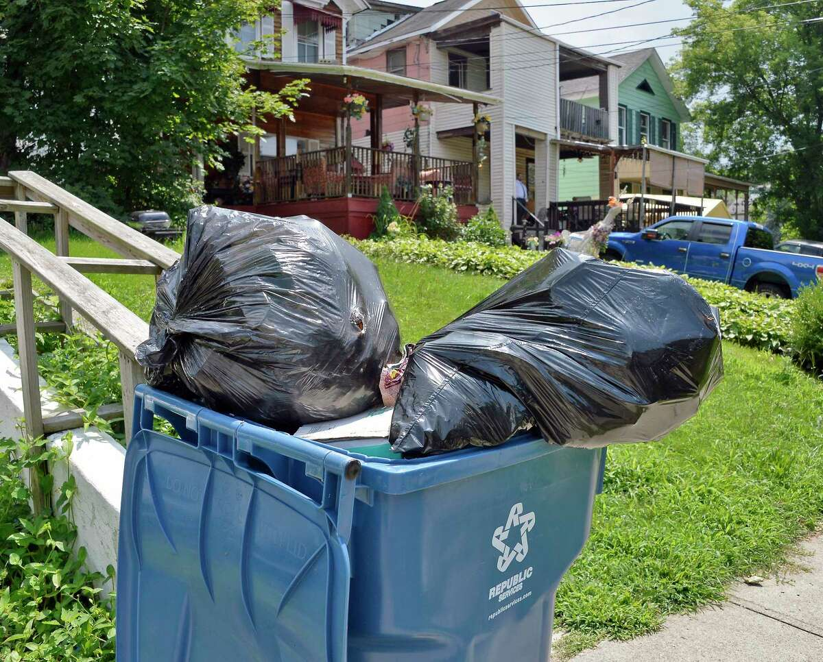 Trash cans outside a house on East Sunnyside Tuesday August 7, 2018 in Troy,NY. (John Carl D'Annibale/Times Union)