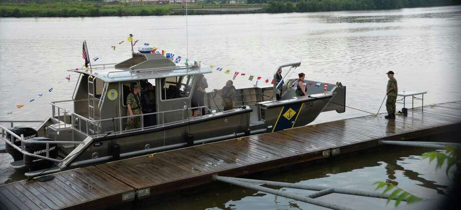 New York Naval Militia patrol boat LC-350 prepares to leave the dock at Jennings Landing park in Albany on Tuesday, Aug. 7, 2018 following a christening ceremony in which the new vessel was acceped into the Naval Militia's patrol boat fleet. ( U.S. Army National Guard photo by Capt. Jean Marie Kratzer) Photo: Capt. Jean Marie Kratzer