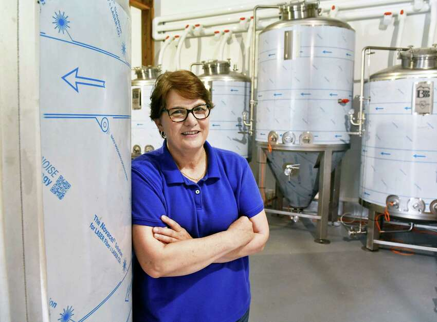 Brewery owner Brenda Schworm inside the brewhouse of Back Barn Brewing Co. Friday July 27, 2018 in Duanesburg, NY. (John Carl D'Annibale/Times Union)