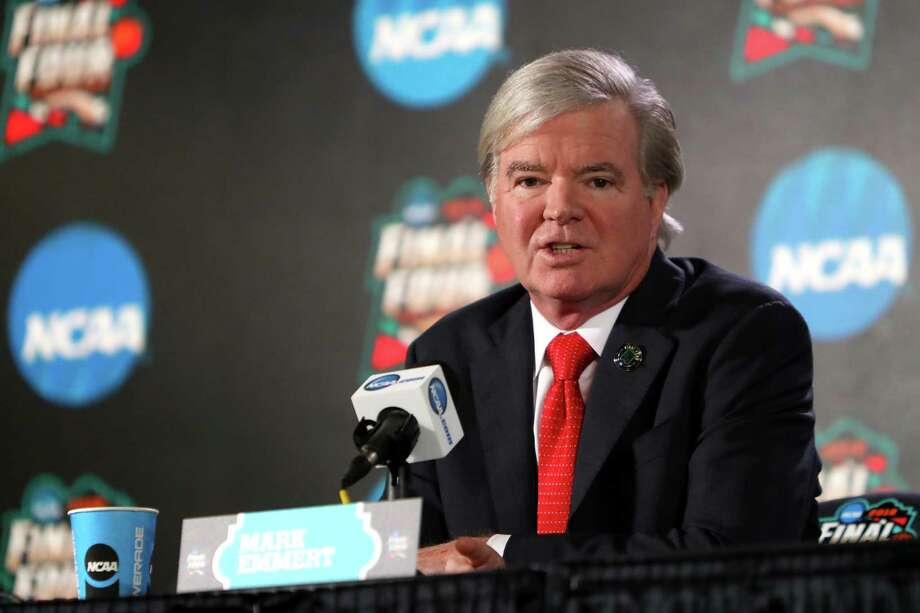 SAN ANTONIO, TX - MARCH 29:  NCAA President Dr. Mark Emmert speaks to the media during media day for the 2018 Men's NCAA Final Four at the Alamodome on March 29, 2018 in San Antonio, Texas.  (Photo by Mike Lawrie/Getty Images) Photo: Mike Lawrie / 2018 Getty Images