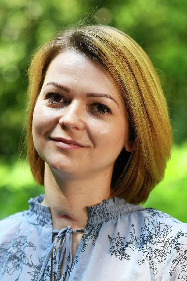 (FILES) In this file photo taken on May 23, 2018 Yulia Skripal, who was poisoned in Salisbury along with her father, Russian spy Sergei Skripal, speaks to media representatives in London, on  May 23, 2018.   A British couple left critically ill in an English town were exposed to Novichok -- the same nerve agent used in the poisoning of a former Russian spy Sergei Skripal and his daughter Yulia Skripal in the nearby city of Salisbury this year, police said on July 5, 2018. / AFP PHOTO / POOL / DYLAN MARTINEZDYLAN MARTINEZ/AFP/Getty Images Photo: DYLAN MARTINEZ / AFP