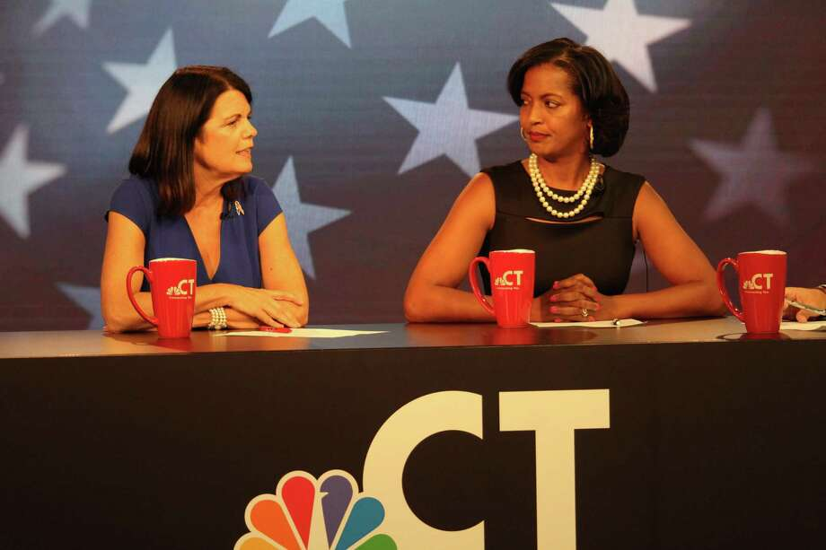 Mary Glassman, left, and Jahana Hayes, candidates for the Democratic nomination for the 5th U.S. House district seat, square off in a debate Wednesday night, Aug. 8, at WVIT-TV NBC Connecticut in West Hartford. Photo: Dan Haar / Hearst Connecticut Media