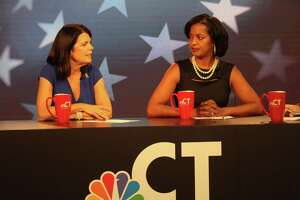Mary Glassman, left, and Jahana Hayes, candidates for the Democratic nomination for the 5th U.S. House district seat, square off in a debate Wednesday night, Aug. 8, at WVIT-TV NBC Connecticut in West Hartford.