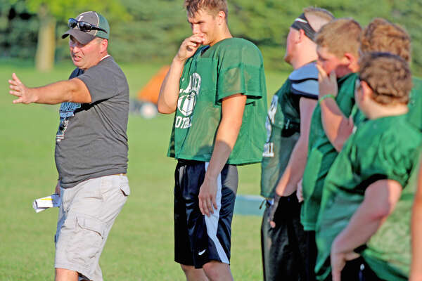 EPBP head football coach Steve VerBurg conducts practice, Wednesday. The Lakers turned in a 10-2 record in VerBurg's first season at the helm. (Mike Gallagher/Huron Daily Tribune)