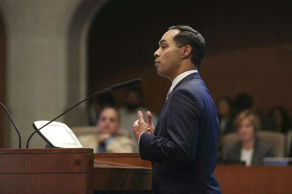 Former mayor and United States Secretary of Housing and Urban Development Julian Castro speaks in favor of the proposal for a citywide paid sick leave ordinance during a public hearing at the San Antonio City Council Chambers, Wednesday, August 8, 2018.