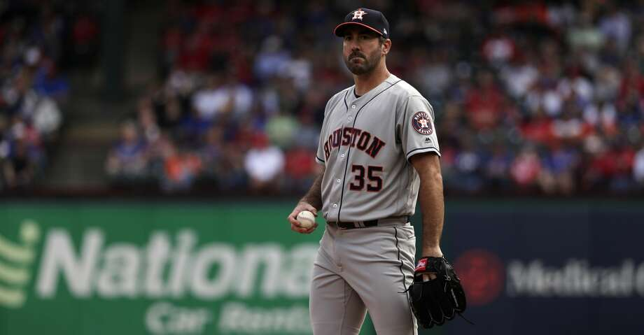 Houston Astros starting pitcher Justin Verlander (35) pauses on the mound as he works against the Texas Rangers during a baseball game in Arlington, Texas, Thursday, March 29, 2018. (AP Photo/Tony Gutierrez) Photo: Tony Gutierrez/Associated Press