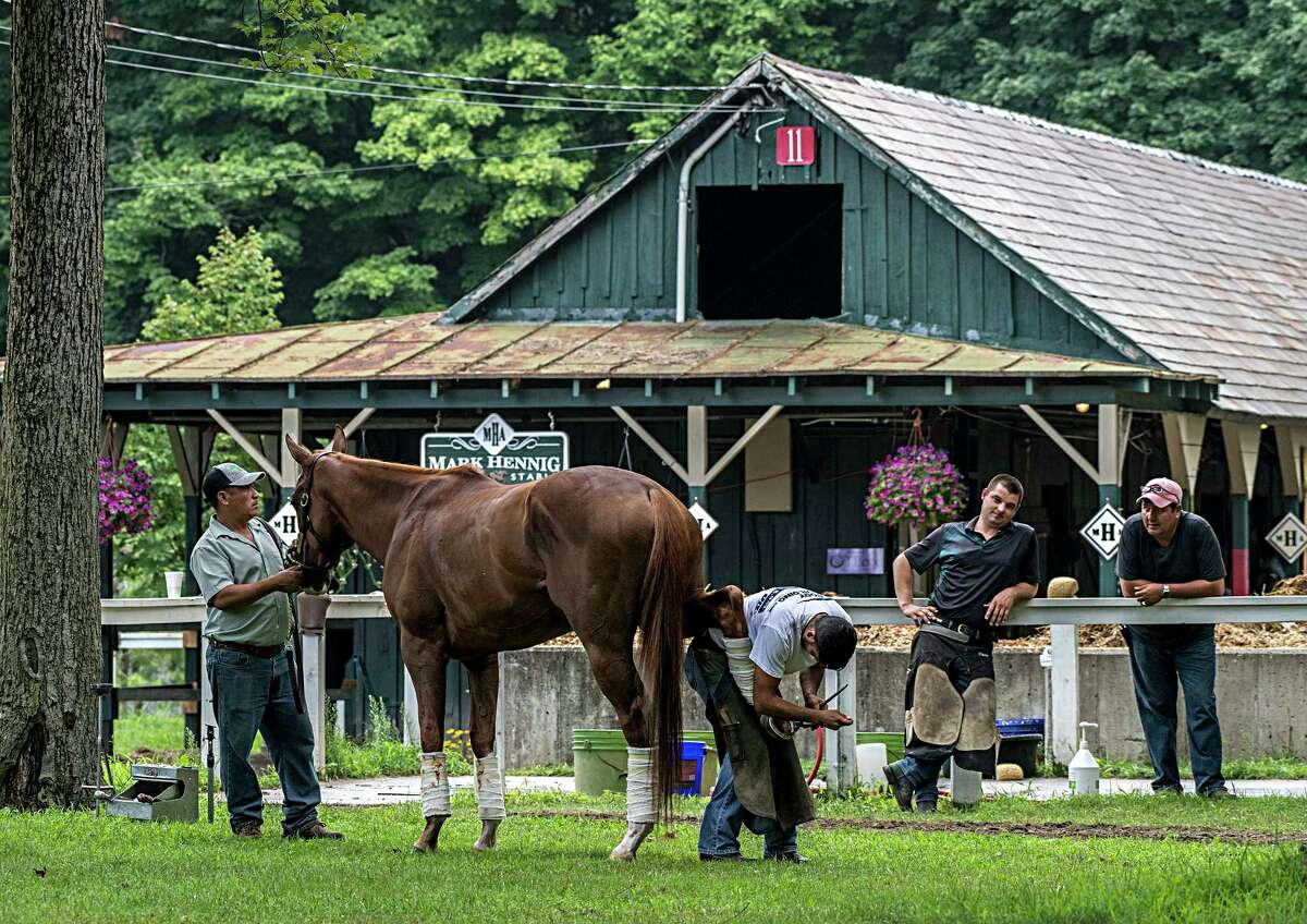 In a beautiful setting a horse receives new shoes in the barn area of trainer Mark Hennig at the Saratoga Race Course Wednesday Aug. 8, 2018 in Saratoga Springs, N.Y.(Skip Dickstein