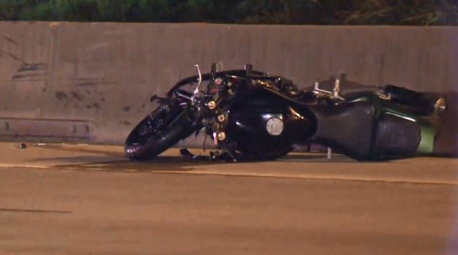 A motorcyclist was critically injured on Wednesday, Aug. 8, 2018 after crashing on the Katy Freeway near Washington. Photo: Metro Video