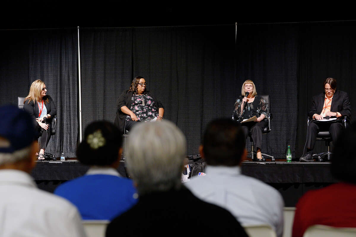Rita Drake speaks on a panel on mental health issues during the Spindletop Center's Healing After Harvey event at Port Arthur's Bowers Civic Center. Photo taken Tuesday 8/7/18 Ryan Pelham/The Enterprise
