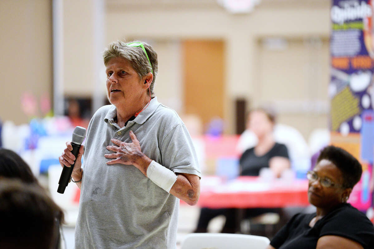 PK Moore asks a question during the Spindletop Center's Healing After Harvey event at Port Arthur's Bowers Civic Center. Photo taken Tuesday 8/7/18 Ryan Pelham/The Enterprise