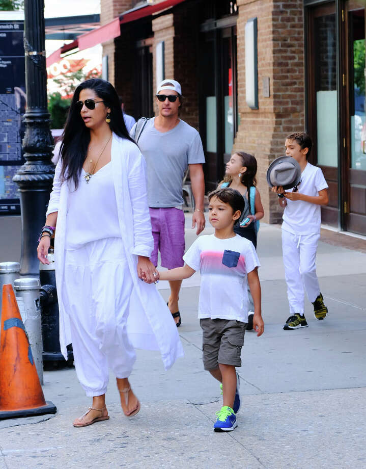 Matthew McConaughey, Camila Alves and their kids are seen walking in Soho on Aug. 8 in New York City. Photo: Raymond Hall/GC Images / 2018 Raymond Hall