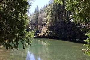 The iconic bridge in Moulton Falls Regional Park in southern Washington