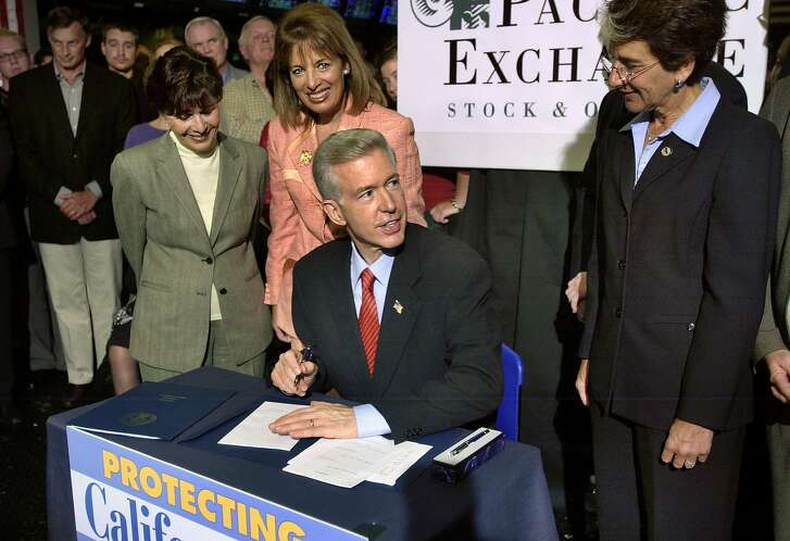 privacy017_ch.jpg Governor Gray Davis  signing SB 1 by Senator Jackie Speier (D-Hillsborough). SB 1 enacts the California Financial Information Privacy Act, which would prohibit financial institutions from sharing or selling personally identifiable nonpublic information without obtaining a consumer's consent.                           Senator Barbara Boxer                          Senator Jackie Speier (D-Hillsborough)                        Governor Davis                         Assemblymember Hannah-Beth Jackson (D-Santa Barbara)    Event on 8/27/03 in San Francisco.  CHRIS HARDY / The Chronicle