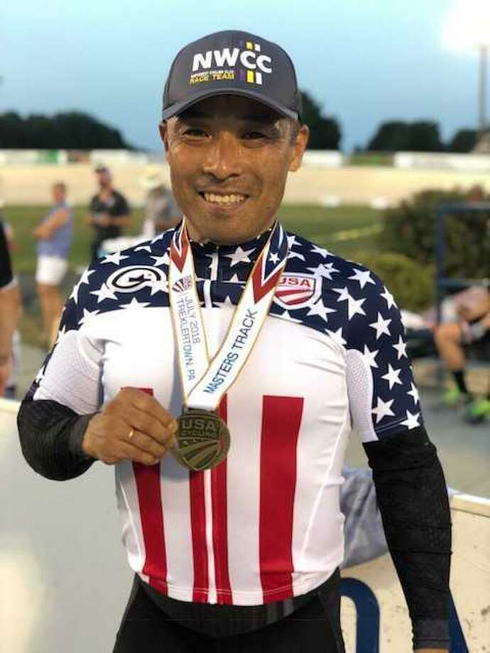 Clear Lake resident, Koh Annoura, recently won several medals at the United States masters track championships in Trexlertown, Pa. Koh is originally from Japan and raced professionally for 17 years before moving to his wife's hometown of Clear Lake in 2007. Racing in the men's category ages 50 to 54, Annoura claimed the silver medal in the 500 meter time trial and also the team sprint while earning the gold medal in the match sprint. Photo: Submitted Photo / Submitted Photo