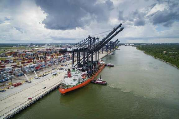Port Houston's newest ship-to-shore cranes stand nearly 30 stories tall with a boom length of 211 feet, able to load and unload vessels up to 22 containers wide.