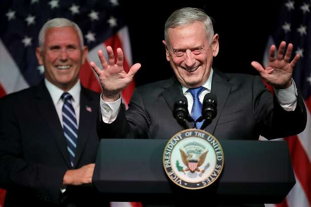 ARLINGTON, VA - AUGUST 09: U.S. Defense Secretary James Mattis (R) introduces Vice President Mike Pence before he announces the Trump Administration's plan to create the U.S. Space Force by 2020 at the Pentagon August 9, 2018 in Arlington, Virginia. Describing space as advasarial and crowded and citing threats from China and Russia, Pence said the new Space Force would be a separate, sixth branch of the military. (Photo by Chip Somodevilla/Getty Images) *** BESTPIX ***