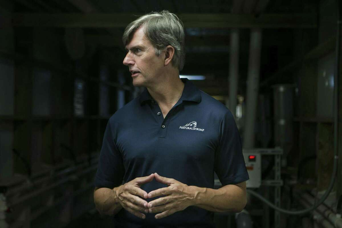 Chief Technology Officer Tom Untermeyer explains the process to grow shrimp at NaturalShrimp Inc.'s Lacoste facility July 18, 2018. The Dallas-based company has created technology that will allow for multiple inland shrimp farms and allow the company to become a major supplier of sustainable shrimp as the global population grows and oceans continue to be over-fished.