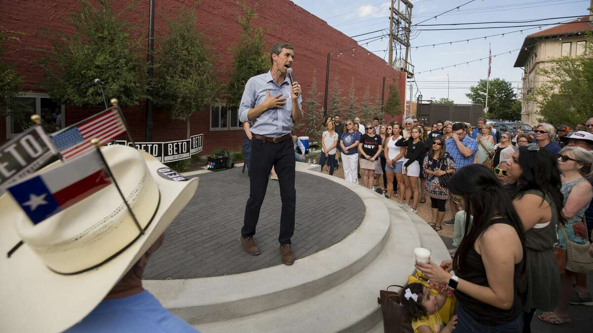 """PHOTOS: Beto on the road Beto O'Rourke speaks to people attending the """"Beers with Beto"""" event at the Six Car Pub & Brewery Tuesday, July 31, 2018, in Amarillo, Texas. >>Take a look at the scenes as Senate candidate Beto O'Rourke campaigns through Texas."""