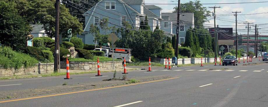Work has begun on a state project to improve pedestrian access on Kings Highway East, from Chambers Street to Villa Avenue. Fairfield,CT. 8/9/18 Photo: Genevieve Reilly / Hearst Connecticut Media / Fairfield Citizen