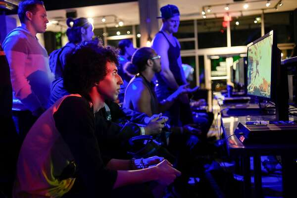 Lucy Weeks plays Dragon Ball Z during the Level Up Series Wednesday Night Fights, at Esports Arena in Oakland, Calif., on Wednesday July 25, 2018.
