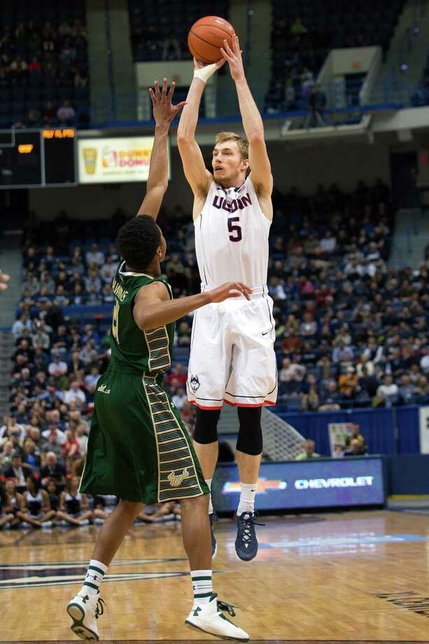 Niels Giffey, who won two national titles as a player at UConn, will make his Jim Calhoun Charity All-Star Game debut on Friday at Mohegan Sun Arena. Photo: UConn Athletics / Stephen Slade