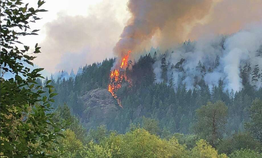 The Maple Fire spreads through a popular recreation area in the Olympic Mountains. Photo: Olympic National Forest