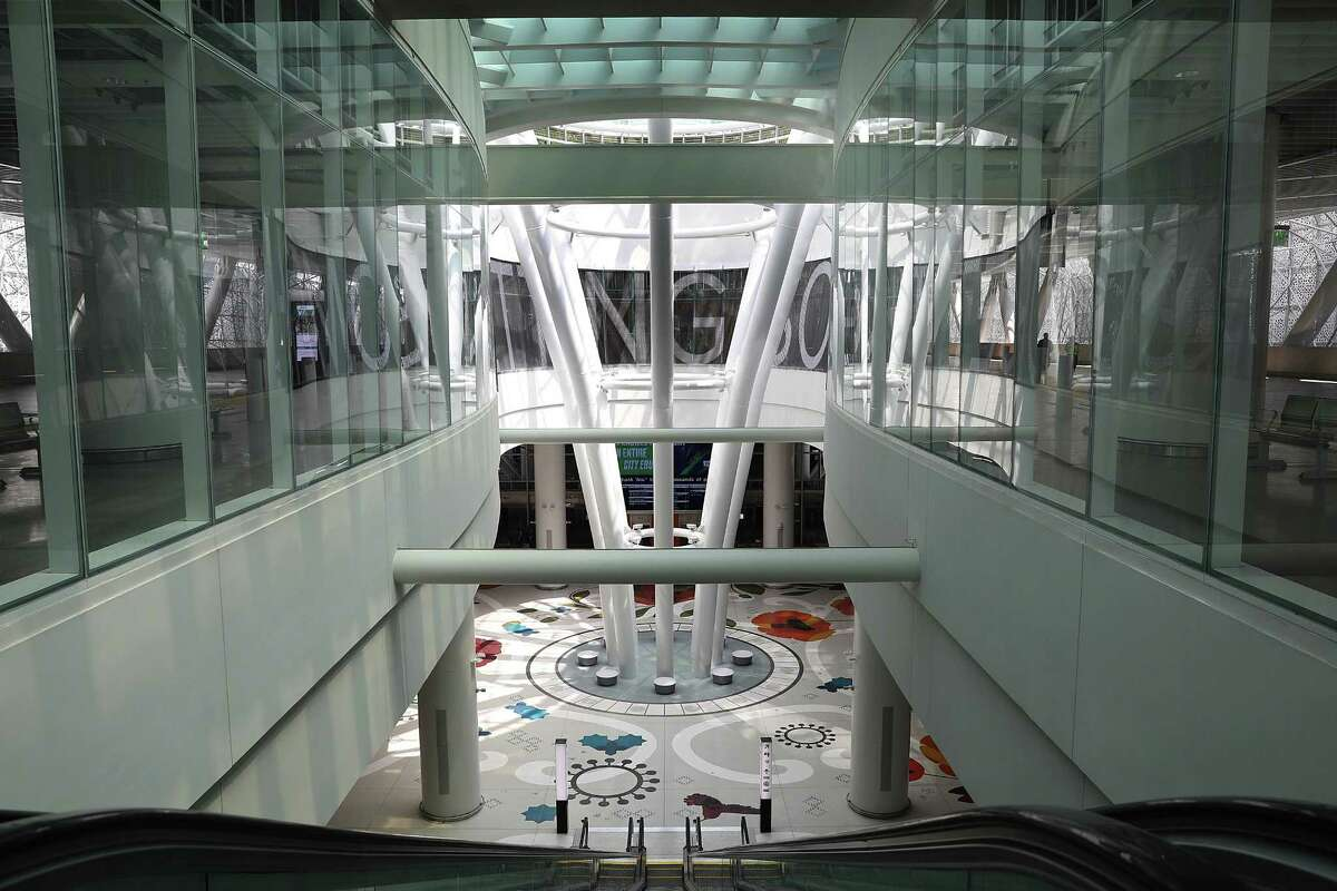 The terrazzo floor in the atrium of the Salesforce Transit Center is by Julie Chang, and an LED digital text display encircling the space is by Jenny Holzer. Public art to adorn the center has been commissioned at a cost of $4.75 million.