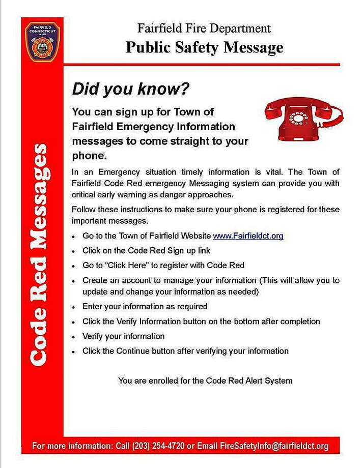 Fairfield, Conn., residents are reminded to sign up for Code Red alerts. Photo: Contributed Photo / Contributed Photo / Connecticut Post Contributed