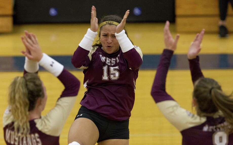 Magnolia West's Amairani Trejo (15) reacts after scoring a point in the second set of a match during the Katy/Cy-Fair Volleyball Classic at Katy Taylor High School on Thursday, Aug. 8, 2018, in Katy. College Park defeated Magnolia West 2-0. Photo: Jason Fochtman, Staff Photographer / Houston Chronicle / © 2018 Houston Chronicle
