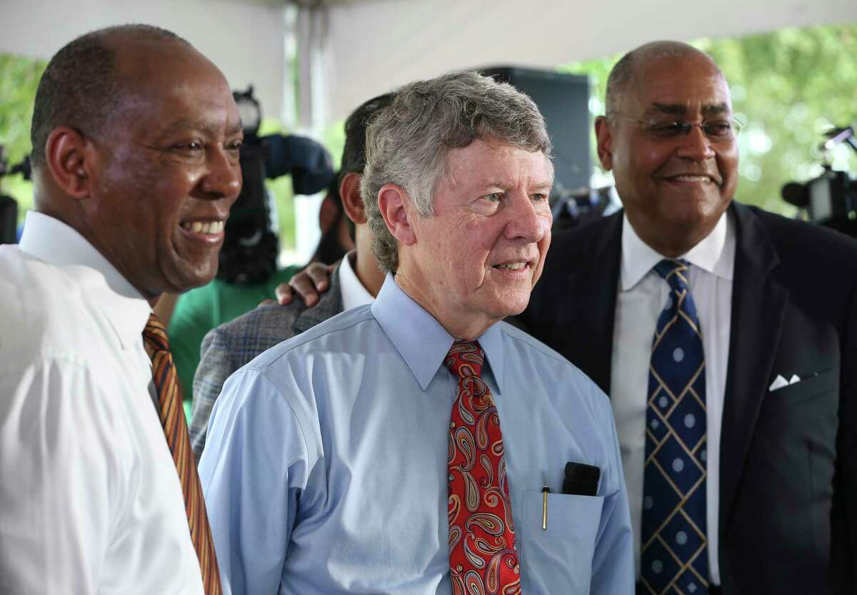 Houston Mayor Sylvester Turner, left, Harris County Judge Ed Emmett and Harris County Commissioner Rodney Ellis urged voters to back Proposition A in the upcoming Harris County Flood Control District Bond Election at T.C. Jester Park on Thursday, Aug. 9, 2018, in Houston.
