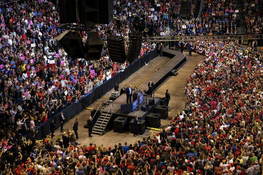 President Donald Trump speaks at a rally Aug. 2, 2018, in Wilkes-Barre, Pa. Trump devoted the majority of his time targeting the news media, deriding the reporters present as fake, fake disgusting news. A reader suggests less Trump coverage. Photo: AL DRAGO /NYT / NYTNS