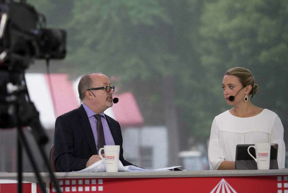 NYRA TV personality Andy Serling, left appears with Gabby Gaudet in the paddock studio at the Saratoga Race Course  Aug. 1, 2018 in Saratoga Springs, N.Y. (Skip Dickstein/Times Union) Photo: SKIP DICKSTEIN / 20044454A