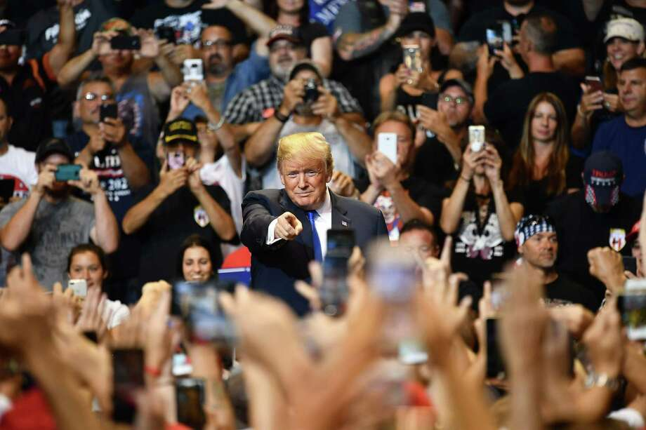 President Donald Trump speaks at a political rally at Mohegan Sun Arena in Wilkes-Barre, Pennsylvania on Aug. 2018. This president has brought back the face of hate to Americans. Photo: MANDEL NGAN /AFP /Getty Images / AFP or licensors