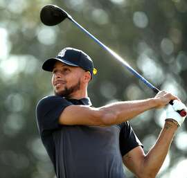 Golden State Warriors' Stephen Curry tees off on 11th hole during 1st round of Ellie Mae Classic at TPC Stonebrae in Hayward, Calif. on Thursday, August 9, 2018.