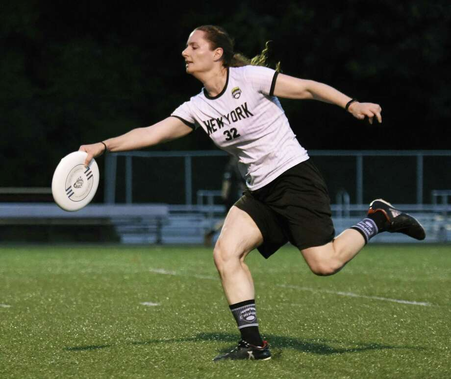 Greenwich resident Lauren Doyle makes a catch in a New York Empire scrimmage at Joseph F. Fosina Field in New Rochelle, N.Y. in July. Photo: Tyler Sizemore / Hearst Connecticut Media / Greenwich Time