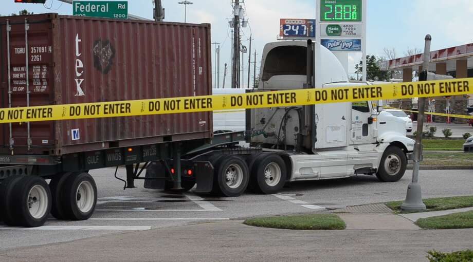A man in a wheelchair was struck by an 18-wheeler on Houston's east side Thursday, witnesses told police. Photo: Jay R. Jordan