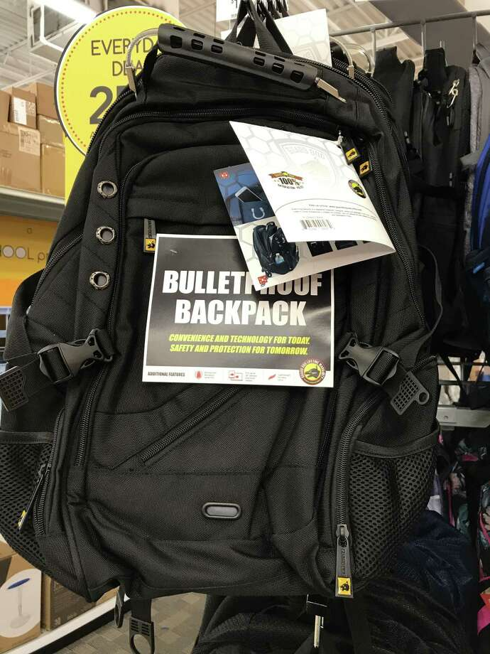 A bulletproof backpack on sale at San Antonio metro area Office Max. Photo: September Downing/Staff