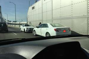 Jump-starting a car on the Bay Bridge is not a good idea either. (Photo courtesy of Everett Chan.)