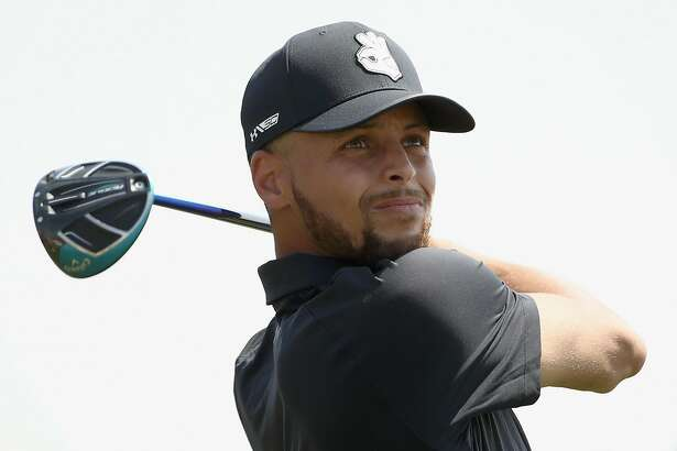 HAYWARD, CA - AUGUST 09: NBA player Stephen Curry of the Golden State Warriors tees off on the ninth hole during Round One of the Ellie Mae Classic at TBC Stonebrae on August 9, 2018 in Hayward, California. (Photo by Ezra Shaw/Getty Images)
