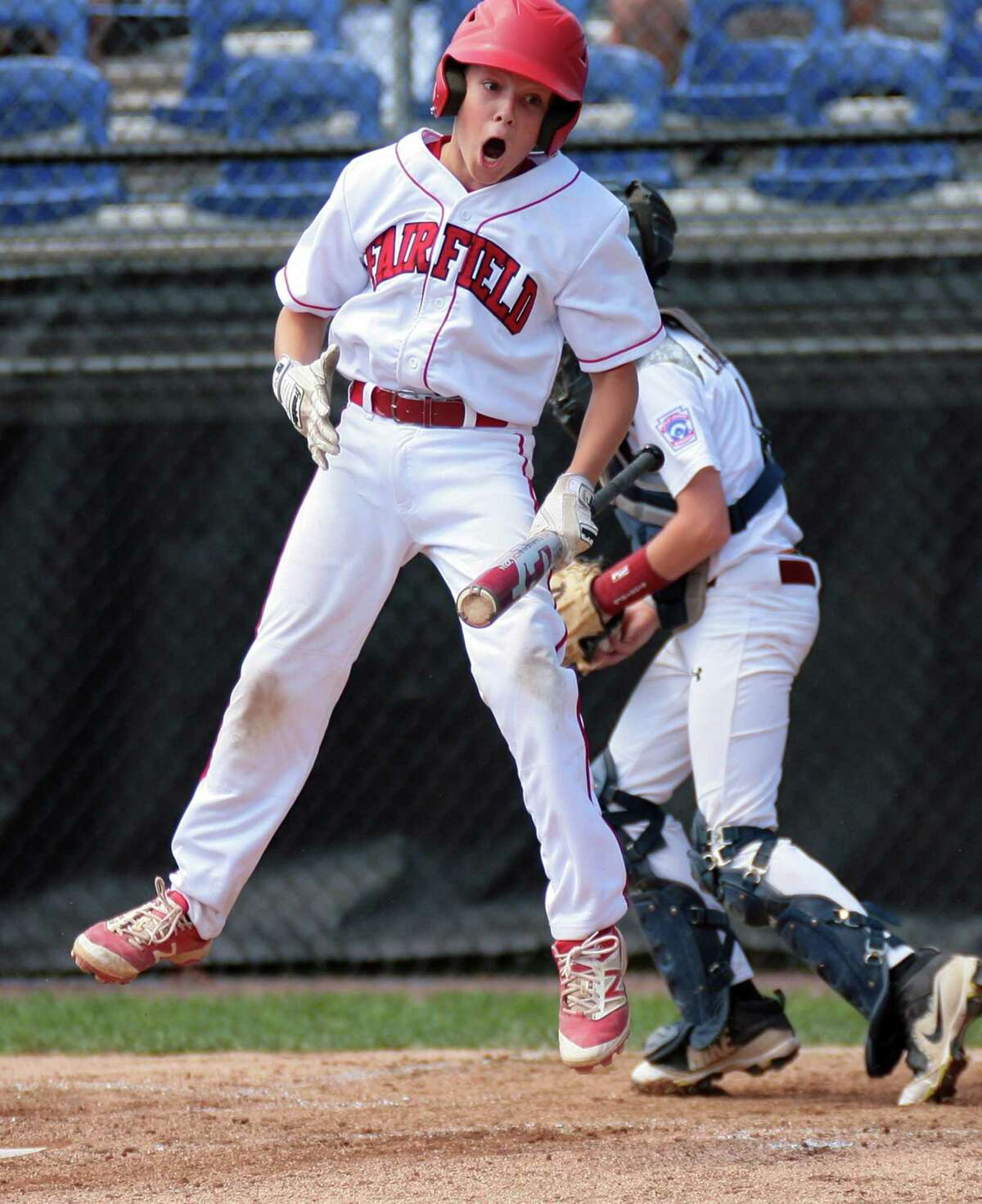 Fairfield American's Timmy Domizio reacts after striking out on Thursday.