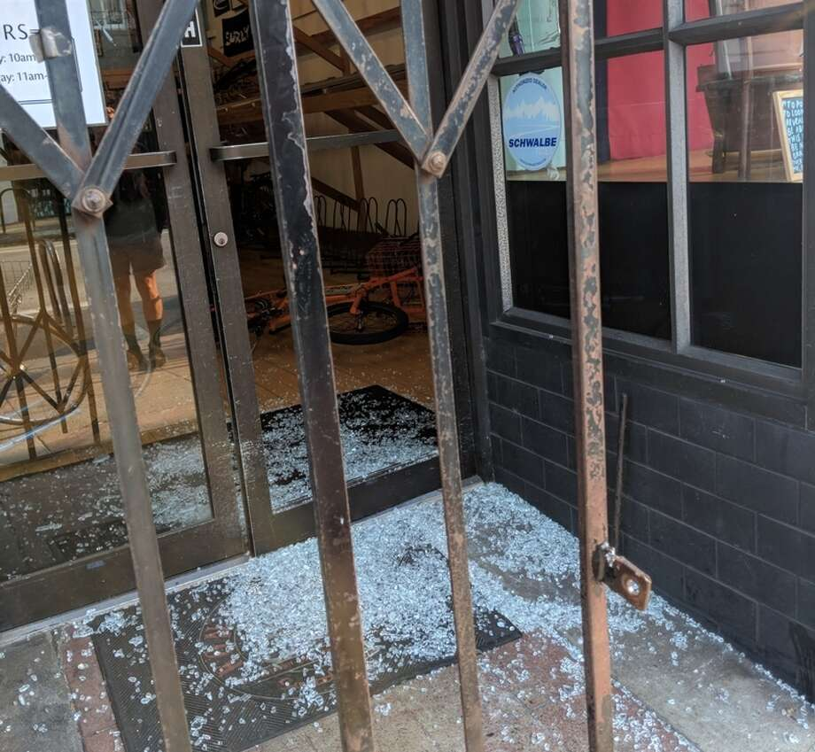 The site of a bike shop burglary in San Francisco. Photo: Hoodline Tipline
