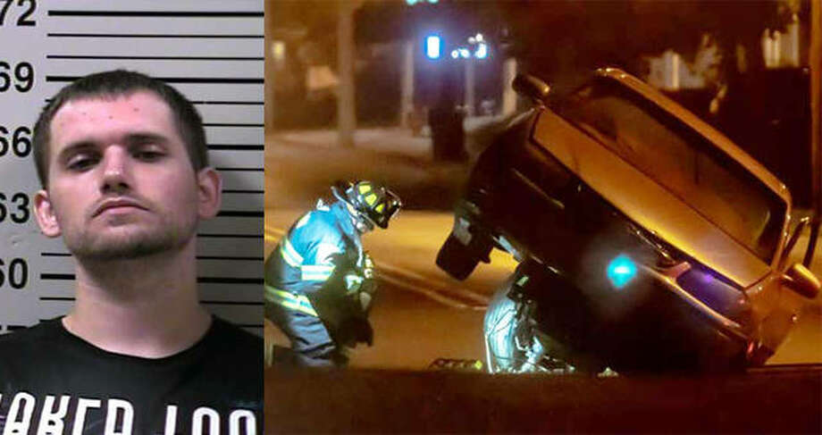 Left: Dustin C. Kirk | Right: The Chevy Impala allegedly driven by Kirk. The force of the crash into the curb at Statehouse Square left the Impala propped up on top of its own engine.