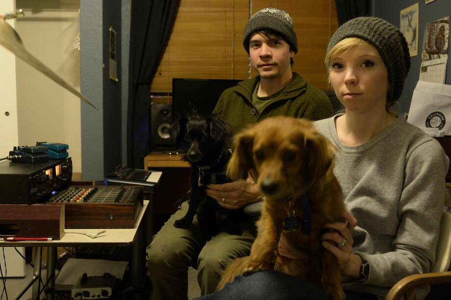Ryan and Karen Hover of the band Sound of Ceres practice at their in-home studio on March 2, 2015. Photo: AAron Ontiveroz/Denver Post Via Getty Images