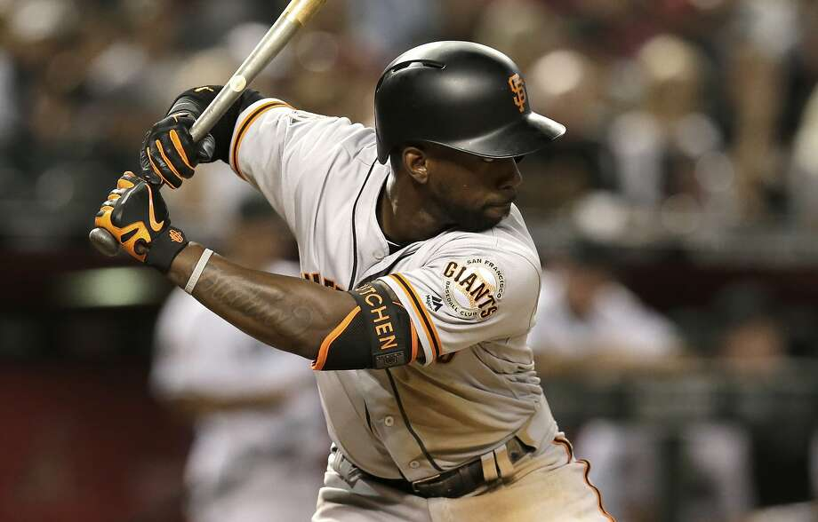 San Francisco Giants center fielder Andrew McCutchen (22) in the first inning during a baseball game against the Arizona Diamondbacks, Saturday, Aug. 4, 2018, in Phoenix. (AP Photo/Rick Scuteri) Photo: Rick Scuteri / Associated Press