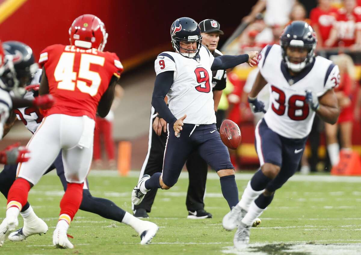 PHOTOS: NFL's best available free agents Houston Texans punter Shane Lechler (9) punts against the Kansas City Chiefs during the first quarter of an NFL football game a Arrowhead Stadium on Thursday, Aug. 9, 2018, in Kansas City. >>>See which players remain available during the 2019 offseason ...