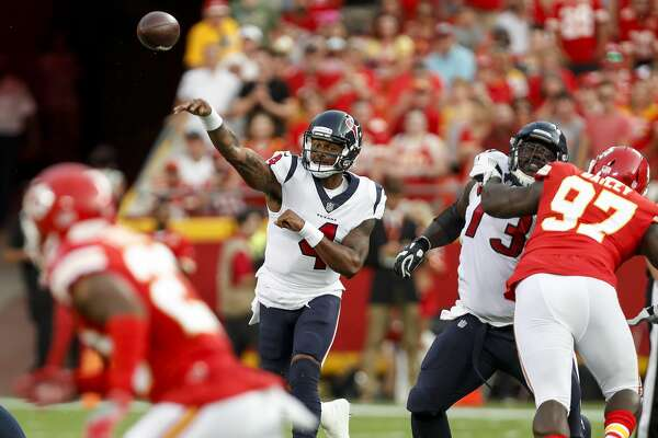 Houston Texans quarterback Deshaun Watson (4) throws a pass against the Kansas City Chiefs during the first quarter of an NFL football game a Arrowhead Stadium on Thursday, Aug. 9, 2018, in Kansas City.
