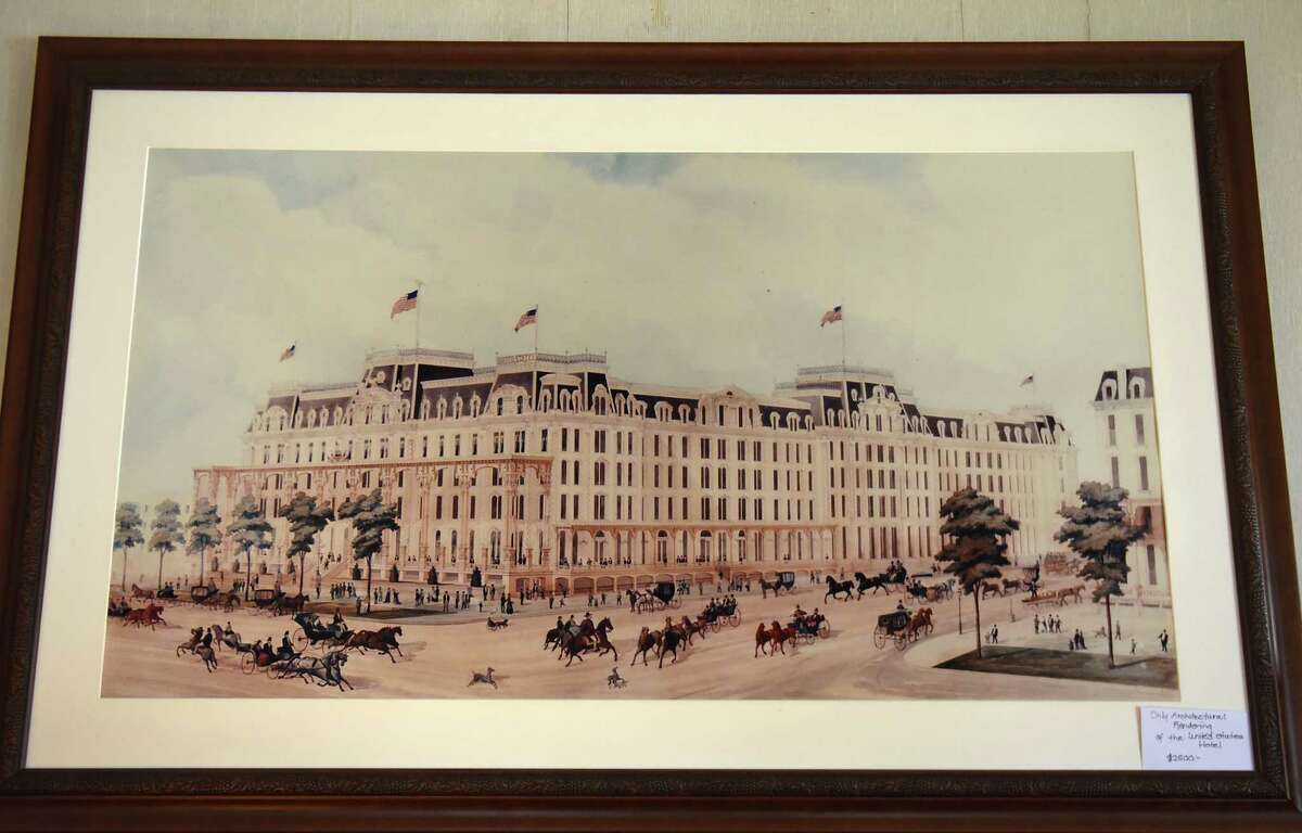 The only architectural rendering of The United States Hotel (front side) will be for sale at the Saratoga collection of Minnie Clark Bolster estate sale Aug. 9, 2018 in Saratoga Springs, N.Y. The sale will take place Friday through Sunday. (Lori Van Buren/Times Union)